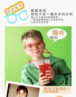 Free shipping ! Novelty items Amazing Silly Straw Drinking Glasses Eyeglass Frames Piped 5 colors best gift for child