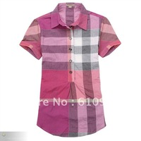 Freeshipping women short sleeve turndown collar shirt lady long style t-shirt Ms. cotton checked paterrn shirt 1318