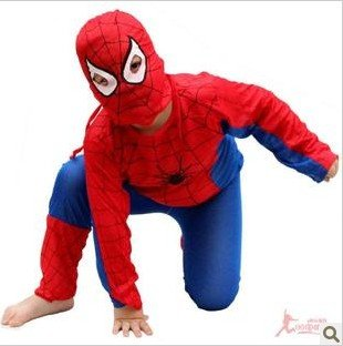 Masked ball clothing cosplay dance performance clothing spider-man tights children spiderman costume(China (Mainland))
