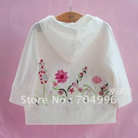 Free Shipping- Children's hooded cardigan, girls' top,children outwear w embroidered flower, thin coat, white, pink(MOQ: 5pc)