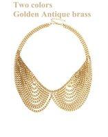 Free Shipping 6pcs/lot New Arrivals! Ladies Hot Golden Bronze Chains Tassels Symmetry Choker False Collar Necklace NO 20340