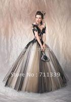 Black v-neck ball gowns Quinceanera Dresses Orgazna applique Wedding bridal gowns Prom dresses 320