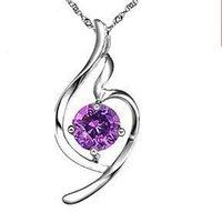 Helen jewelry Free shipping Genuine 925 Sterling Silver White Zircon heart fine necklace women