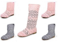 Free shipping fashion summer knitted net cutout boots all-match boots cow muscle outsole high-leg boots Bright pink size 35-41