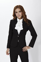 2014 New Fashion Women Blazer Coat for Ladies OL Work Wear Long Sleeve Autumn Winter Black Free shipping