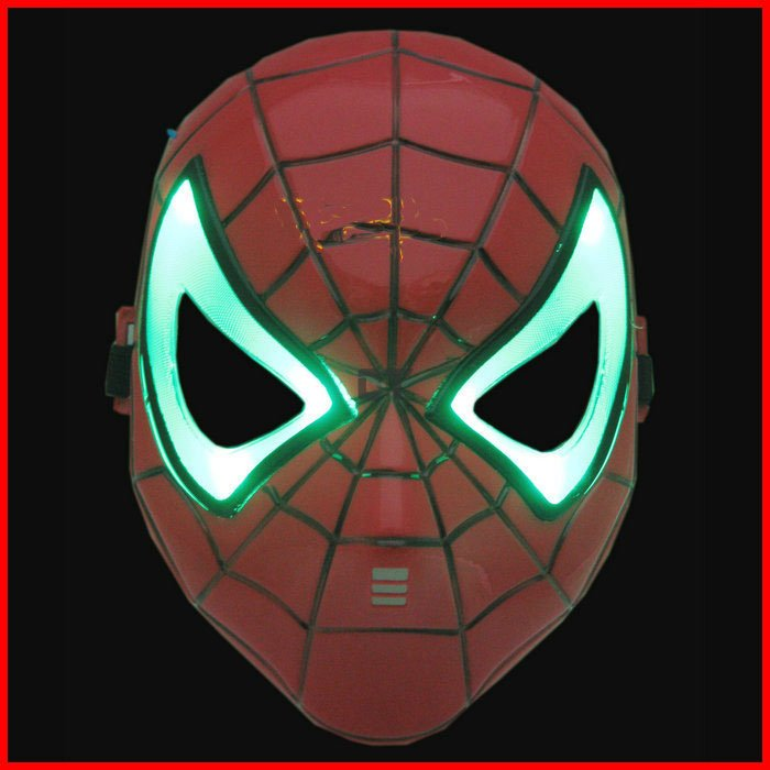 Cosplay mask Glowing Spiderman/ Spider Man halloween/christmas Mask with Green or Blue LED Eyes Make up Toy for Kids Boys(China (Mainland))
