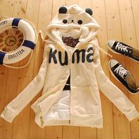 Free Shipping Young girl 100% cotton with a hood sweatshirt cardigan METERS BONWE women's  autumn