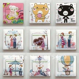 New Wholesale ( 24 pieces/ lot) Beautiful Creative Love Pattern Daycare Home Decor PVC Switch / Socket Sticker Art Removable