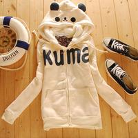 Free Shipping METERS BONWE autumn winter women's fleece thickening cardigan sweatshirt young girl outerwear