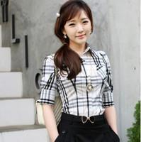 Japanese style women's short-sleeve plaid shirt female 100% cotton half sleeve bracelet sleeve elbow-length sleeve female shirt