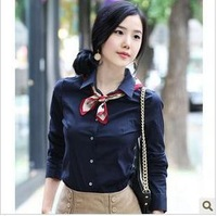 2012 spring 100% cotton women's shirt tooling basic long-sleeve female shirt