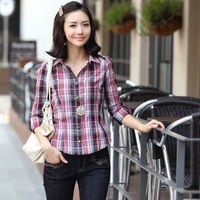 Spring plaid long-sleeve shirt thin slim long-sleeve plaid shirt