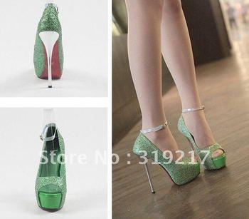 Free shipping Shine Sequins Green Platform  Peep Toe Women's High Heels Pump Shoes With Hasp