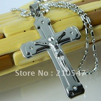 Free Shipping 316L Stainless Steel SIlver Jesus Cross Pendant,316L Stainless Steel Necklaces Pendants Fashion Jewelry DZ359