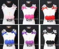 Free shipping wholesale pettitops girls baby toddler shoulder zebra birthday cake sleeveless tank tops cotton vest Clothing