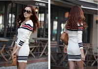 Free Shipping,Ladies'Long section dress , the V-neck stripe spell color sweater ,blue and white 2 color options