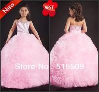 Best Seller! Exquisite! Custom Made! Girl's Pageant Gowns Halter Ball Gown Floor Length Crystal Beads Sequins Junior Girl Dress