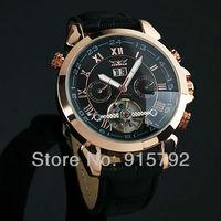 Jargar Men Black Dial Tourbillon Rose Golden Tone Case Aviator Automatic Mechanical Wrist Watch Wholesale Price Nice Gift A508