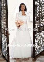 Bolero Wedding Accessories for Brides Bridal Long Sleeve Satin  Bolero Jacket JA004 free shipping