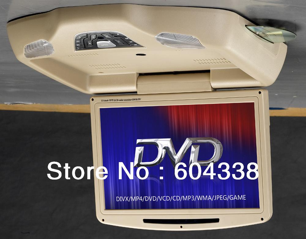 11 inch 800*480 flip down car DVD player ,DVD+GAMES+SD+USB+dual IR +FM transmitter+MP4+DIVX(China (Mainland))