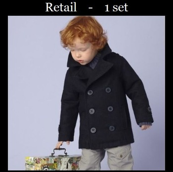 Free shipping 1pcs retail 3~7age long sleeve woolen turn-down collar boys jacket kids apparel shij1094