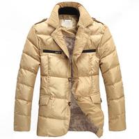 Men Fashion Casual Down Jacket Stand Collar Winter Warm Coat Gentlemen Thickening Outwear Outdoor Free Shipping MC1143