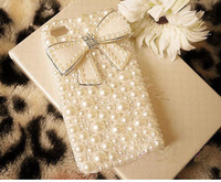 new white Luxury cute girly diamond Pearl Case bow Cover for iPhone 4 4S 4G