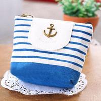gift blue ocean stripe cloth purpose package coin purse free air mail