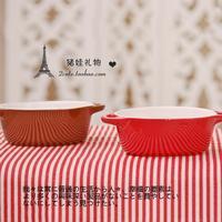 Zakka ceramic solid color japanese style interaural pudding bowl sauce bowl free air mail