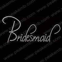 Free DHL Shipping 30pcs/Lot Bling Iron On Letters Bridesmaid Rhinestone Transfer Hotfix Motif  Fast Turnaround