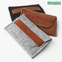 Mupu wood wool felt small bag mobile phone bag coin purse double layer free air mail