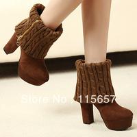 Shoe vivi magazine thick heel ankle boots female high-heeled yarn tube zipper platform martin boots