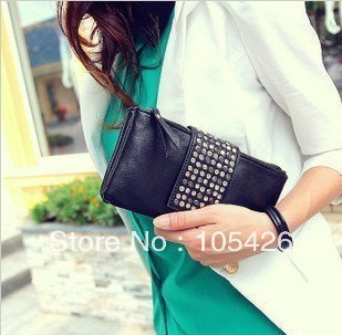 Free shipping,Fashionable Korean Style PU Leather Rivet Ladies' Clutch Wallet Evening Bag