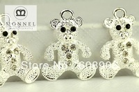H194 Cute Teddy Bear Crystal Pendant Charm Wholesale (3pcs) Xmas Gift