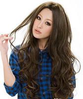 Free shipping Long curly hair fluffy hair bangs lengthen girls wig