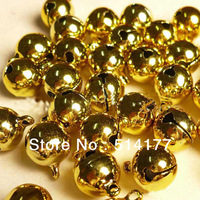 Free shipping- 8mm Golden Jingle Small Bells Fit Festival & Christmas Decoration Jewelry Pendants (200pcs/lot)