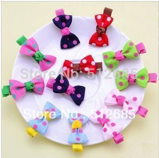 {Min.Order $15}30pcs/Lot  Kids/Girl/Princess/Baby Spot Printing Ribbon Hair Clip/Hair Accessories Color Mix