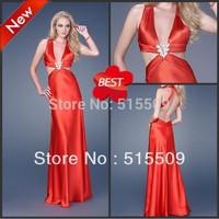 Sexy! Custom Made! Free Shipping! Taffeta Deep V-neck Backless Empire Ruche Beads Prom Dresses