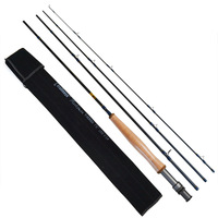Free shipping by EMS,  2.28 meters /4 section, aluminum handle, carbon ultra-light ,fly fishing rod