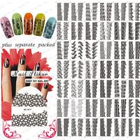 HOTSALE 20Sheet/lot Black Hollow French Tattoo nail art Water transfer Nail Art Stickers for nail art+individually packaging
