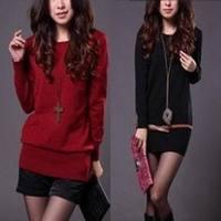 2012 autumn and winter female mercerized cotton o-neck long-sleeve medium-long basic shirt low collar sweater large