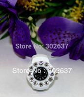 FREE SHIPPING 5PCS White Band Rhinestone Black Round Finger Ring Watch #22360