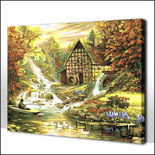 DIY Paint by Number Set-Quiet Woods in Deep Autumn Landscape Oil Painting Online Sale 40*50cm/50*65cm(China (Mainland))