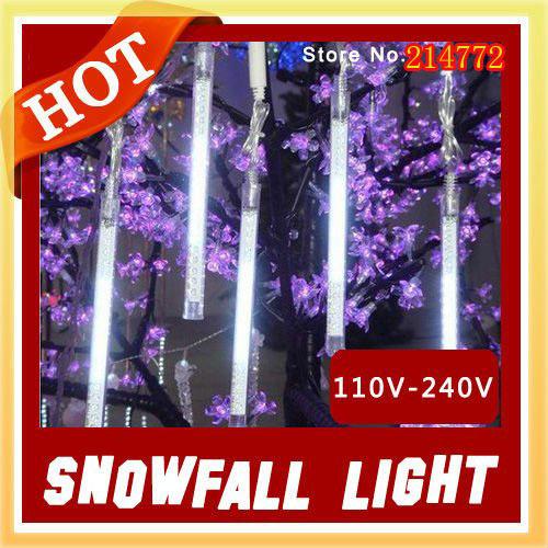 10% off 110V-240V Christmas White Snowfall Led Light 20cm 8pcs/set,12 led bulbs,Snowfall light(China (Mainland))