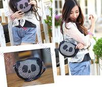 fashion black handbag small Cute Panda bag Bling with Rhinestone bag lady Purse Shoulder tote 6797