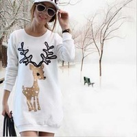 Free Shipping White Deer Embroidered O-Neck Long Thicken Fashion Women's Hoodie/Pullover/Sweater