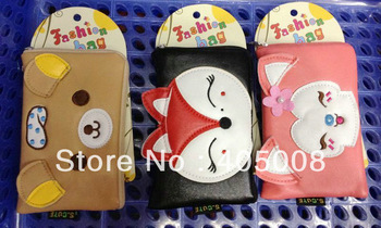 2012 cartoon bear /cat style Leather Pouch Bag For iPhone 3G 3GS 4 4S Cartoon Cell phone bag pouch  Free shipping 10pcs/lot