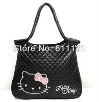 Black hello kitty girl tote shoulder bag Leather handbag purse