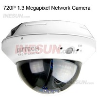 CCTV H.264 1.3 Megapixel 720P HD 3.8mm lens 12pcs Leds Indoor Dome Network built-in POE External alarm I/O device connection