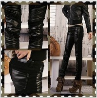 4XL 3XL 2XL XL Autumn Winter Patchwork Leather Trousers Pencil Pants Large Size Harem Pants Show Thin Women Jeans Long Trousers